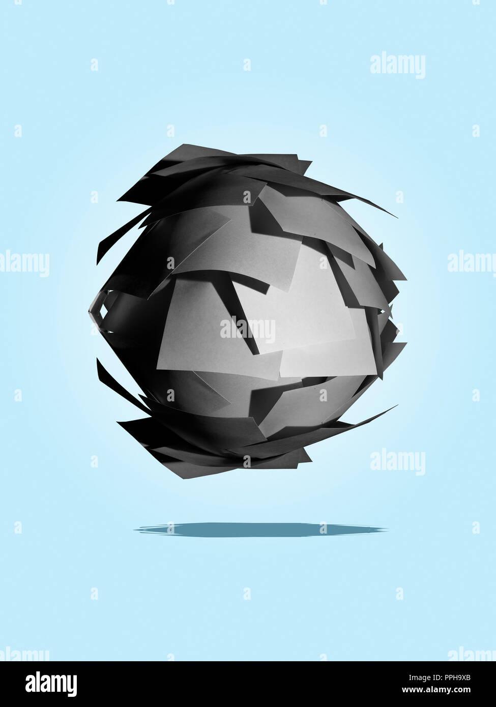 Ball aus grauen Post It notes Konzept Stockbild