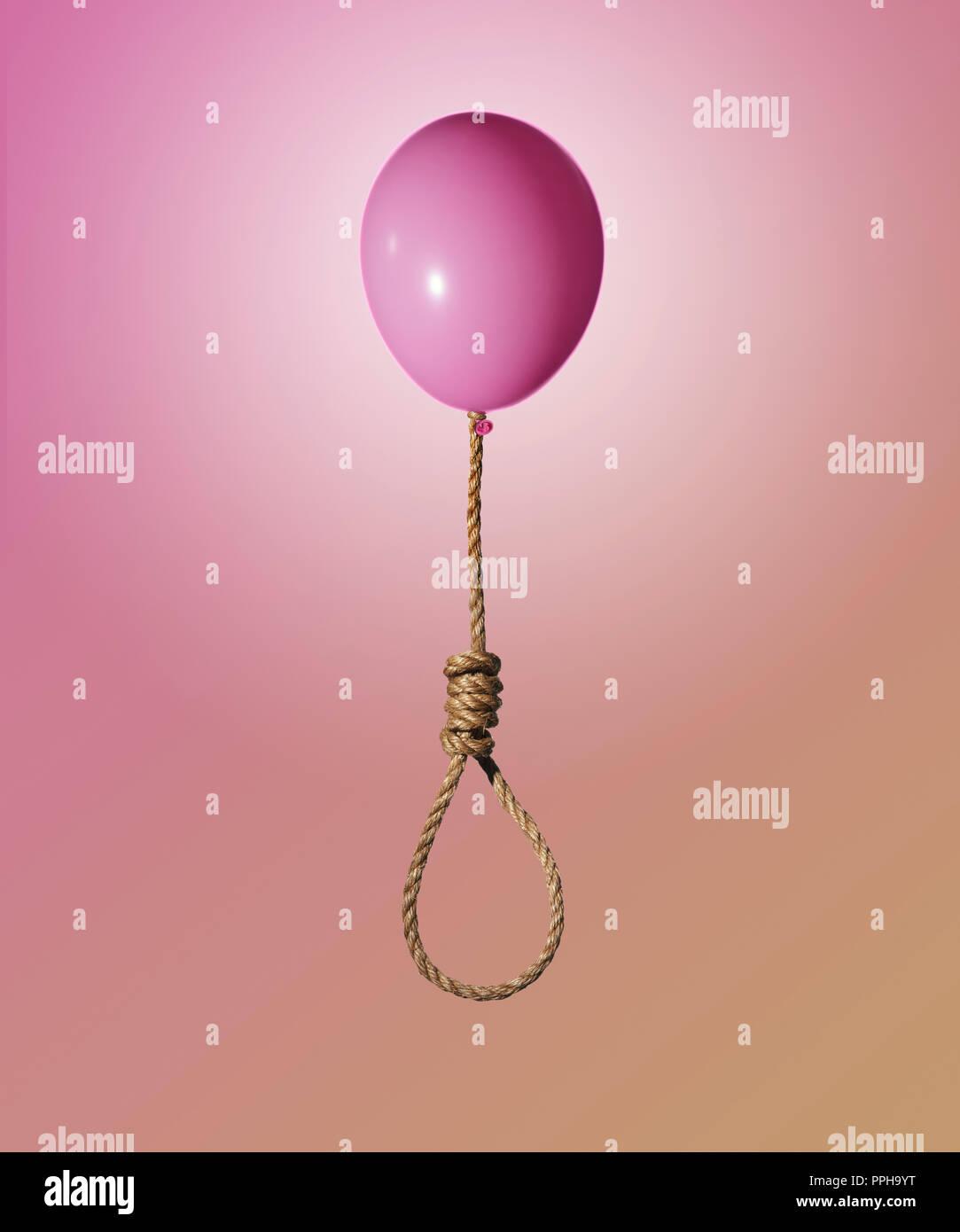 Pink Balloon Anheben einer Jute Seil und Hangman's noose Knoten Konzept Stockbild
