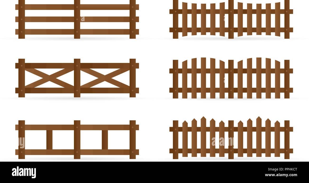Satz von verschiedenen ländlichen Holzzäune. Isolierte detaillierte elemente für garten Illustration Design Stockbild