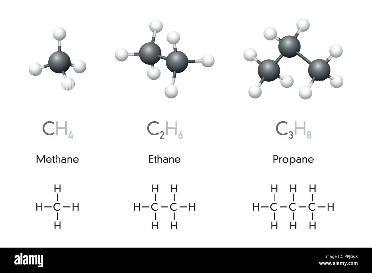 Methan Ethan Propan Molekül Modellen Und Chemischen