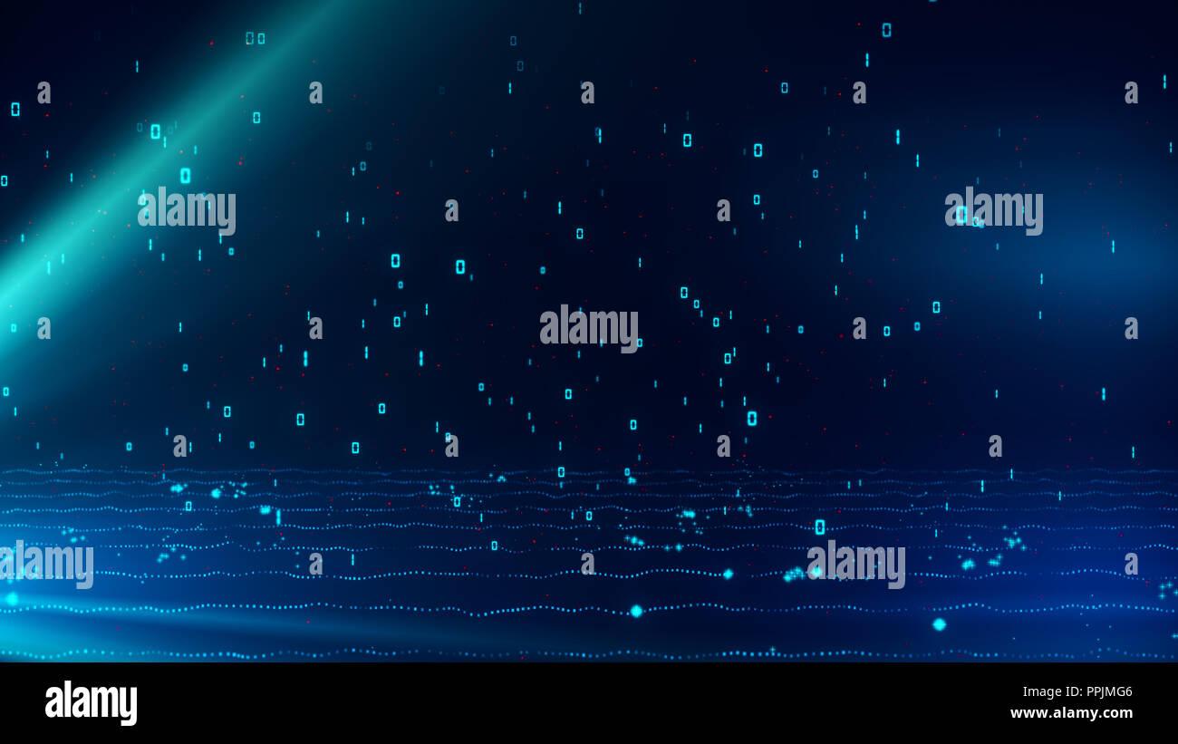 Dunkelblau glühende Partikel mit binären Daten von 1 und 0 Regen Stockbild