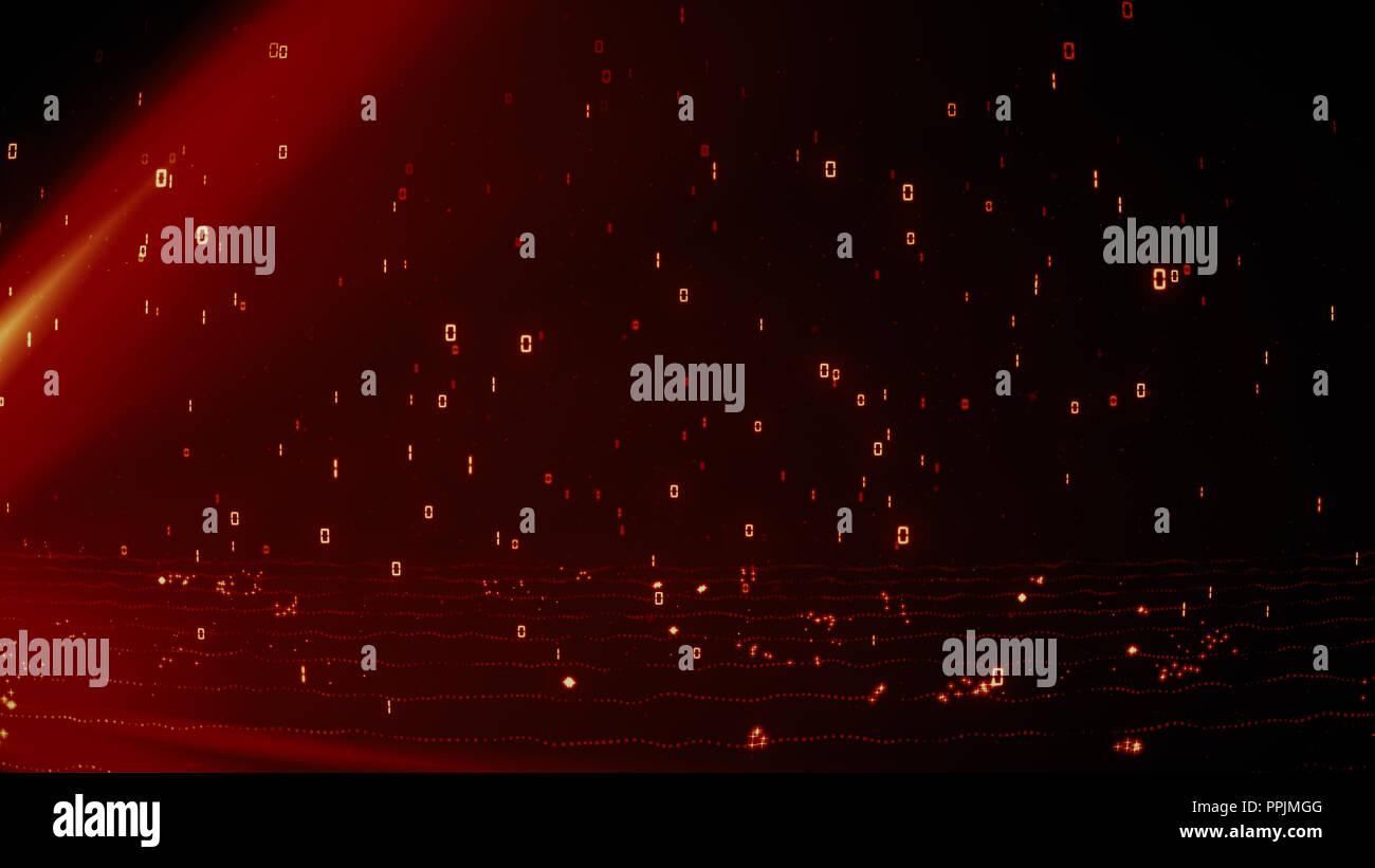 Helles feuriges Rot glühende Partikel mit binären Daten von 1 und 0 Regen Stockbild