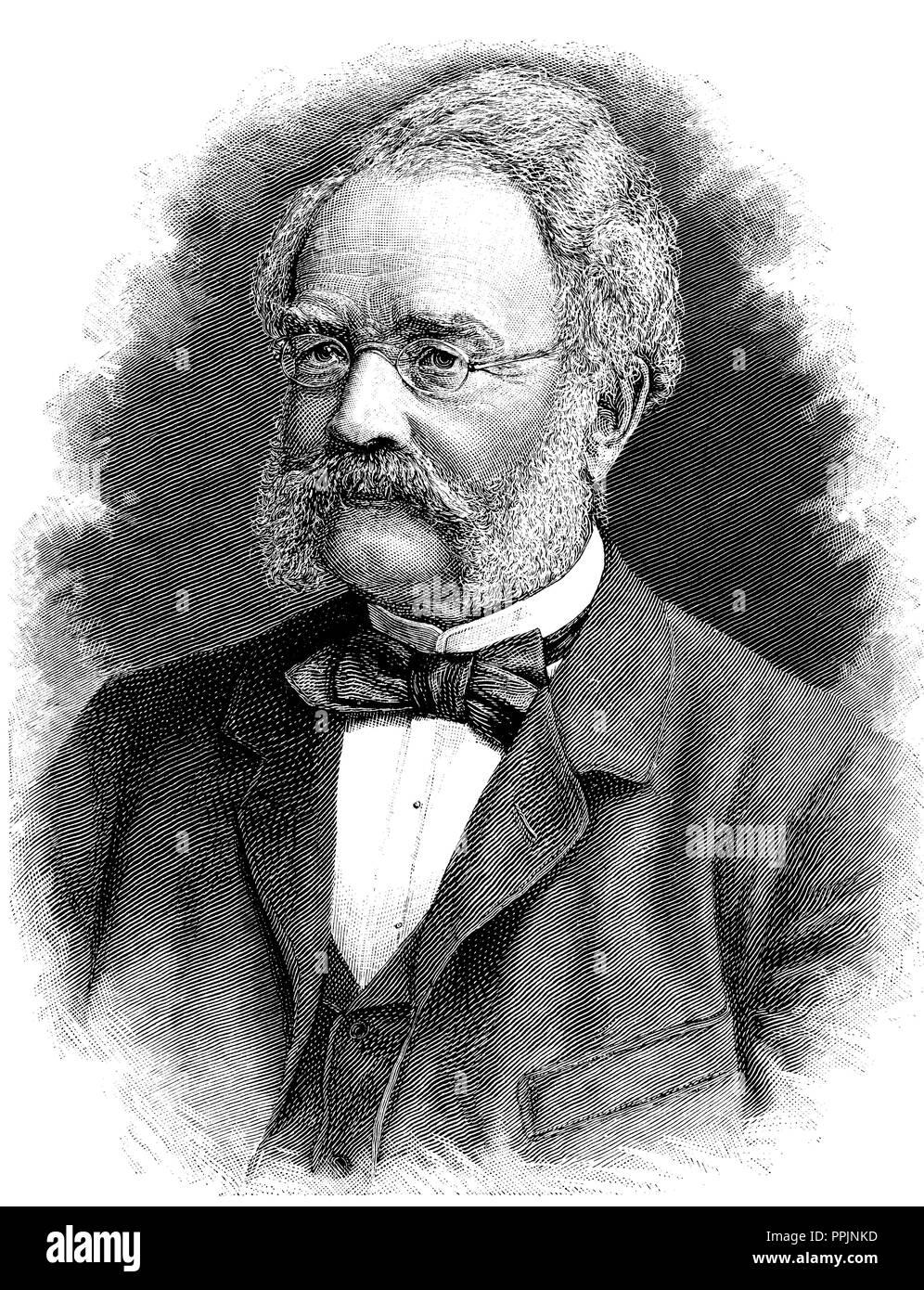 Ernst Werner von Siemens (1816-1892). Der deutsche Erfinder, Pionier der  Elektrotechnik und industriellen Gründer der aktuellen Firma Siemens AG.  Gravur, 1887 Stockfotografie - Alamy