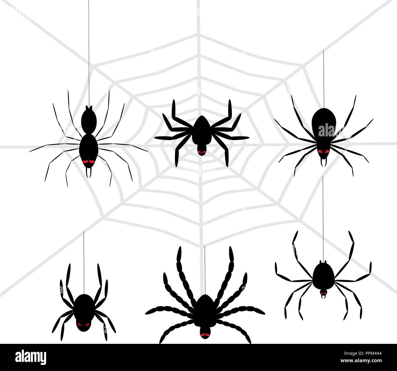 Scary Halloween spider Set schwarz Stockbild