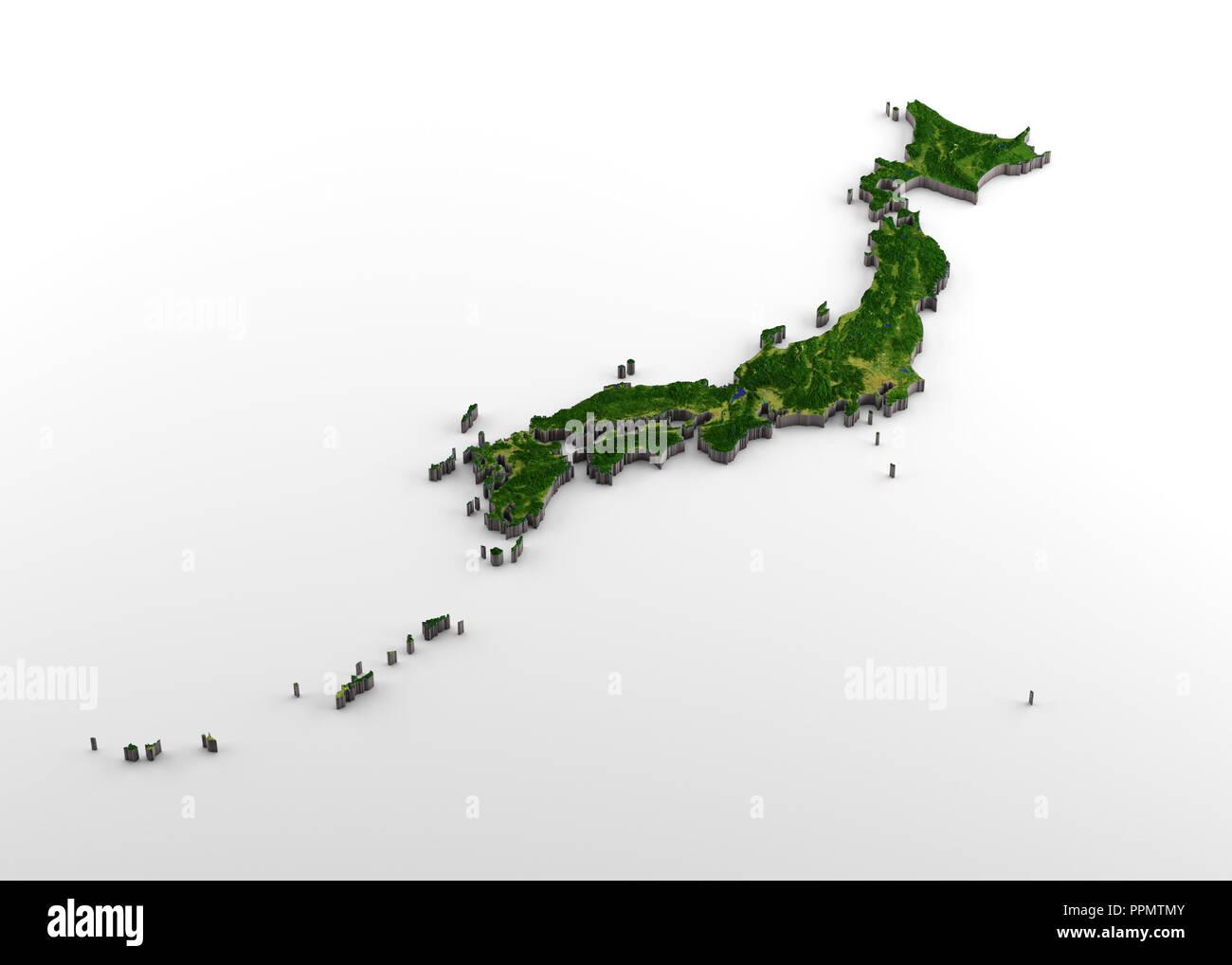 Japan Karte Physisch.Japan Physische 3d Karte Mit Relief Stockfoto Bild