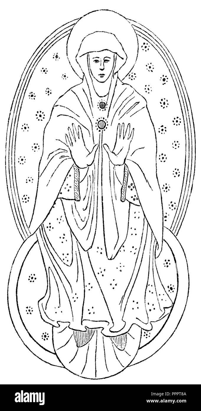 Madonna in einer größeren und kleineren Aureole (10. Jahrhundert), Miniatur Stockbild