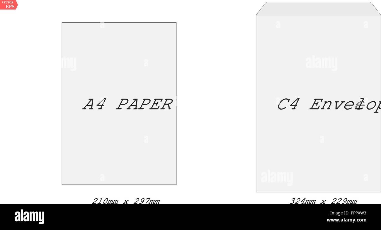 C 4 Leere Mockup Weißes Briefpapier Briefumschlag Vektor Eine