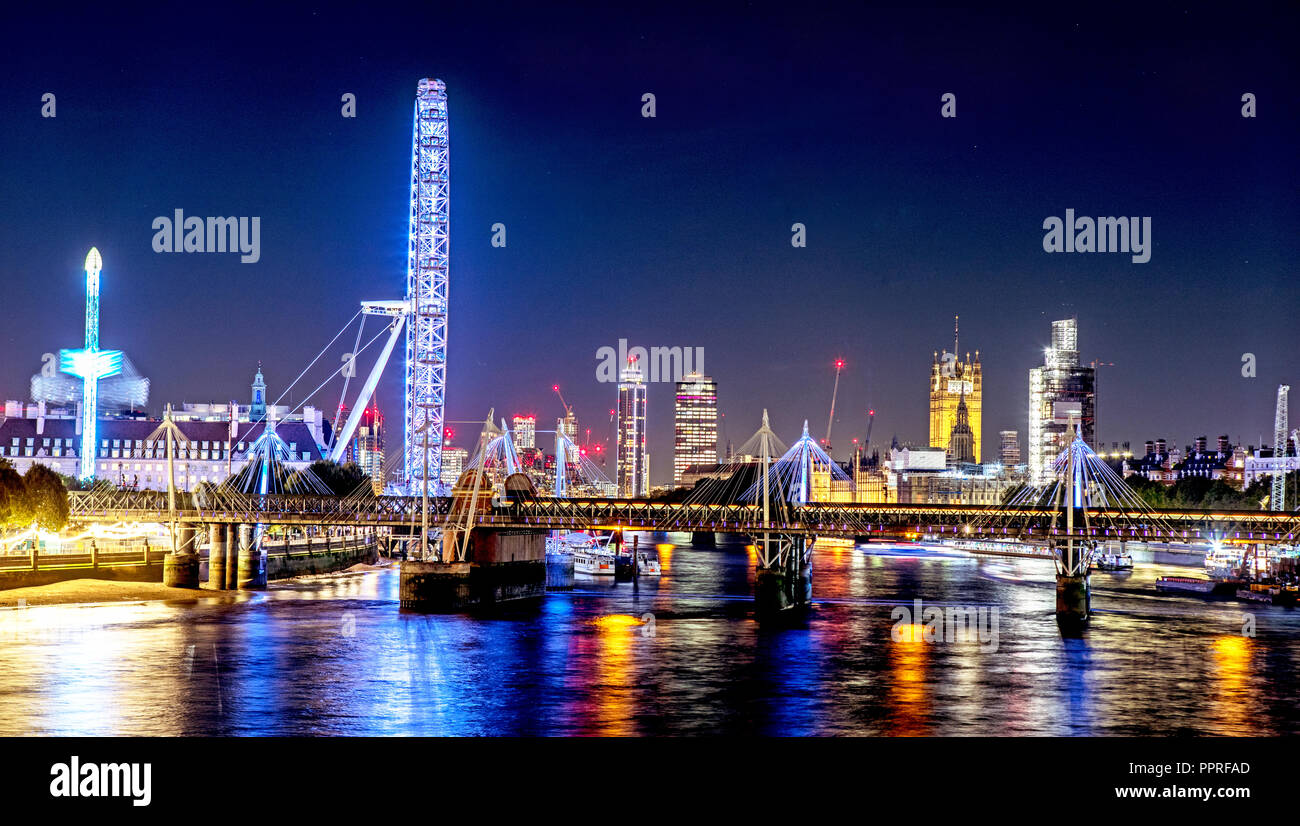 Waterloo Sunset von Waterloo Bridge GROSSBRITANNIEN Stockbild