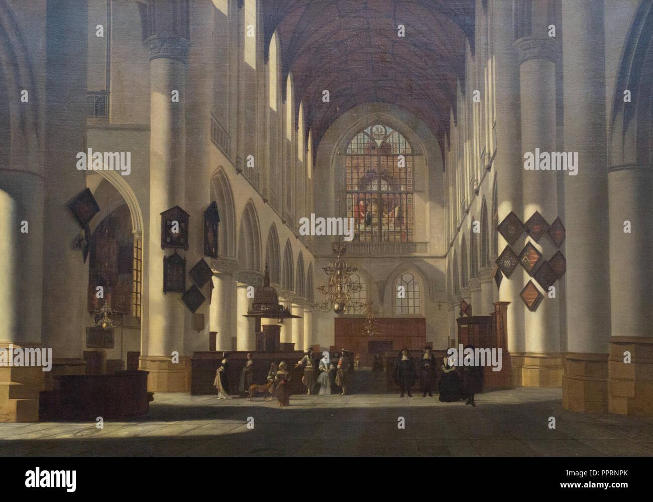 Job Adriaensz Berckheyde - Interieur van de Grote St. Bavokerk te Haarlem. 1668 Stockbild