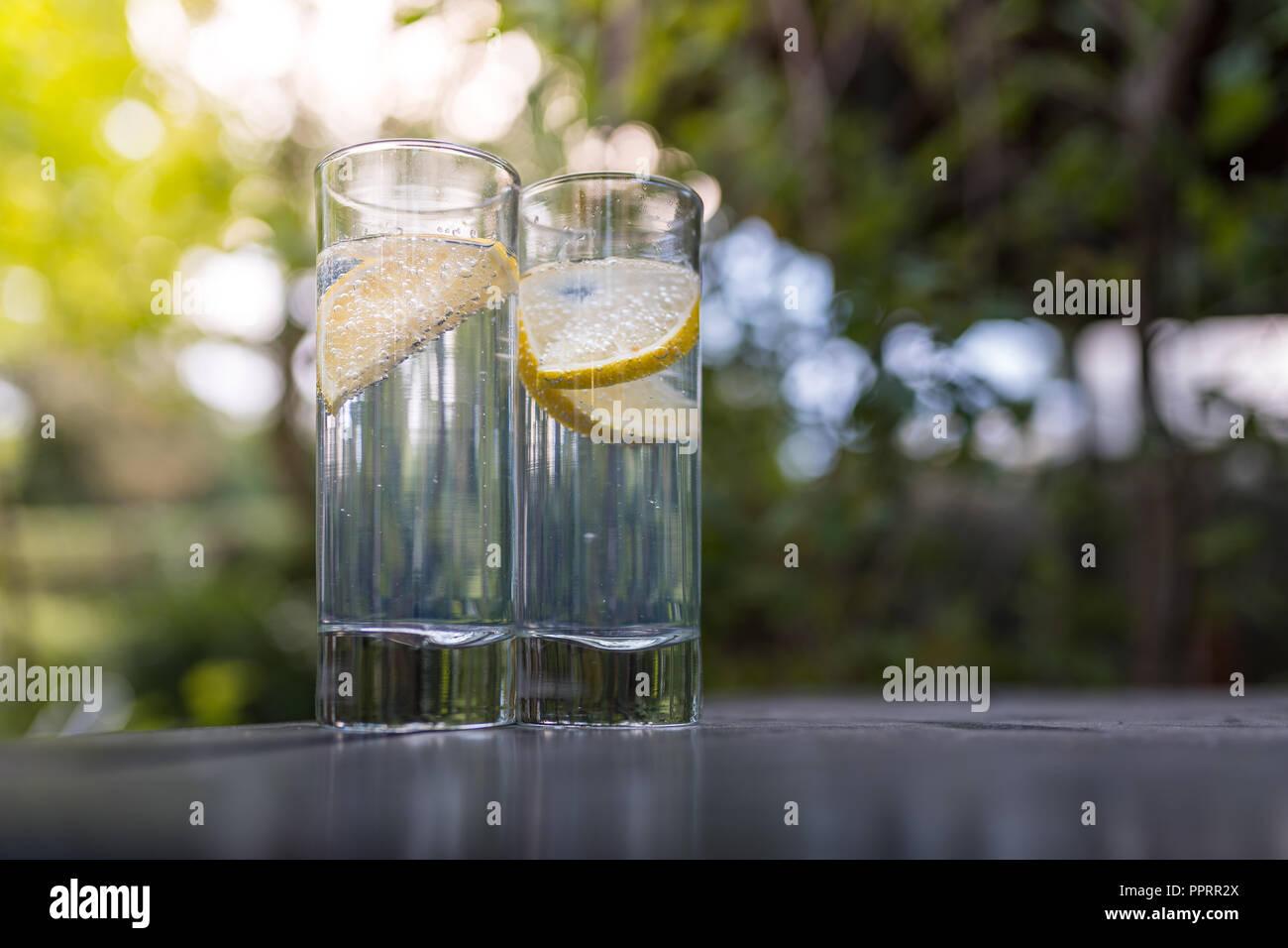 Sekt Gin Tonic in Long Drink Gläser im Garten an einem schönen Sommertag. Stockbild
