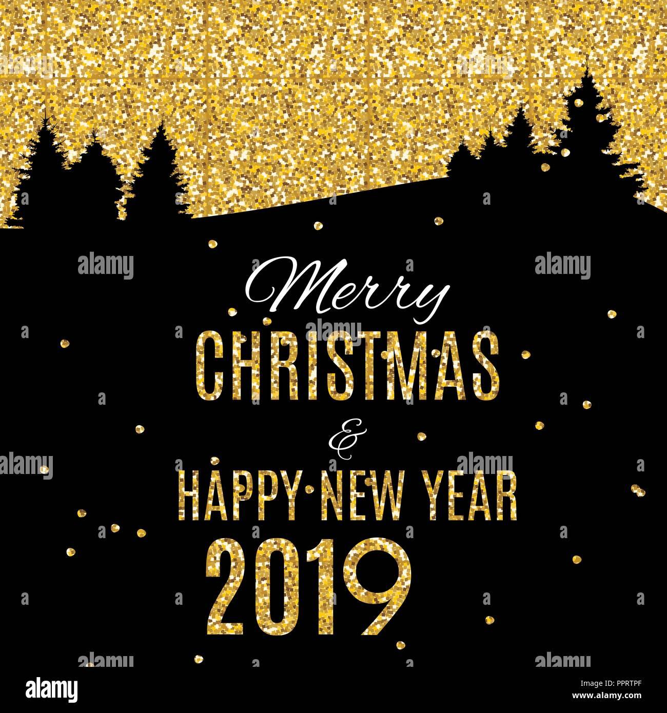2019 Frohes Neues Jahr und Weihnachten Hintergrund heiraten. Vector ...