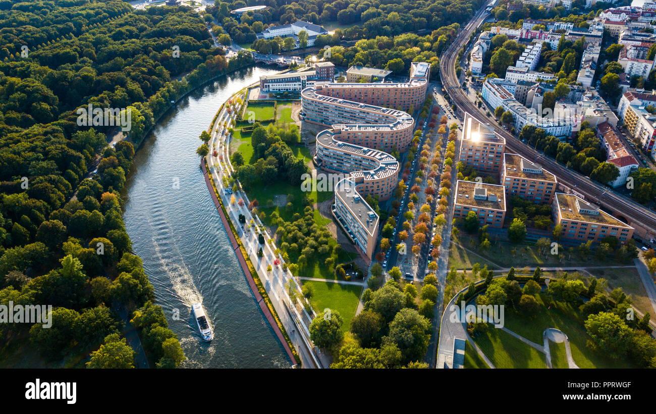 Sepentine oder Schlange Gebäude, Bundes-Abgeordneten - Ab, Moabiter Werder, Berlin, Deutschland, Stockbild