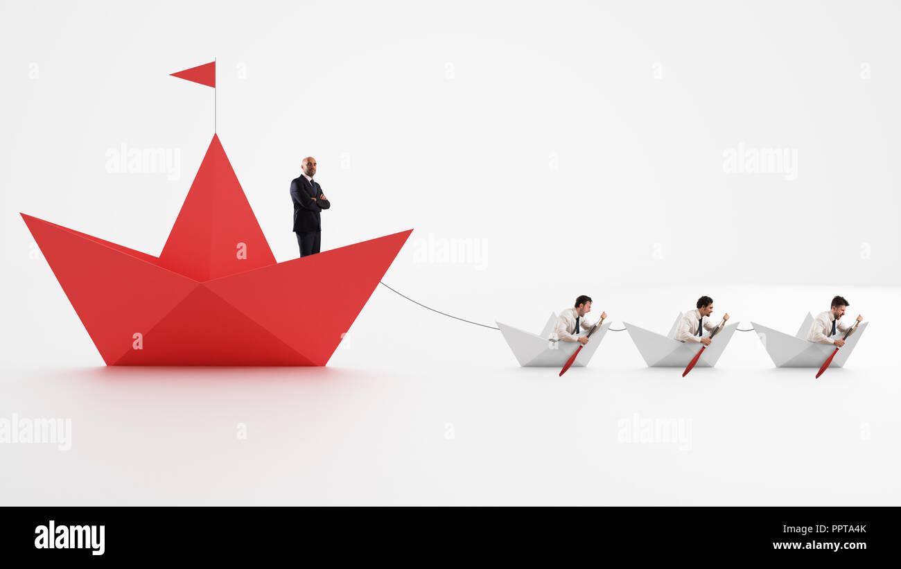 Einigkeit macht stark. Arbeitnehmer, die machen das Unternehmen vorwärts gehen. Konzept der Teamarbeit und der Allianz. 3D-Rendering Stockfoto
