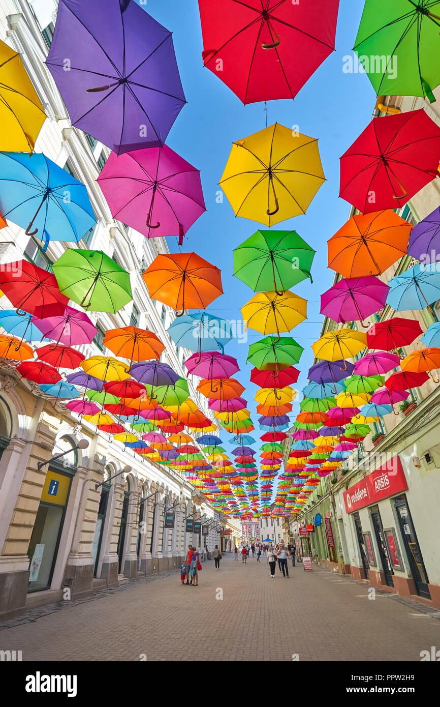 Stadt Straße mit farbigen Schirme Dekoration, Timisoara, Rumänien Stockbild