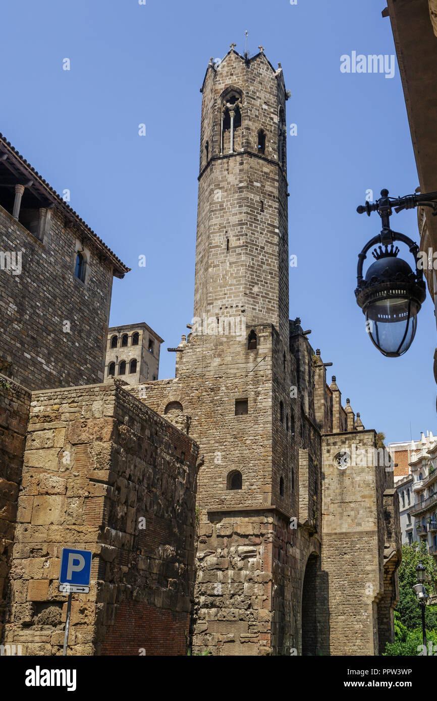 Santa Maria del Mar ist eine Kirche in der Ribera Viertel von Barcelona, zwischen 1329 und 1383 erbaut, als ein herausragendes Beispiel der katalanischen Gotik Stockbild