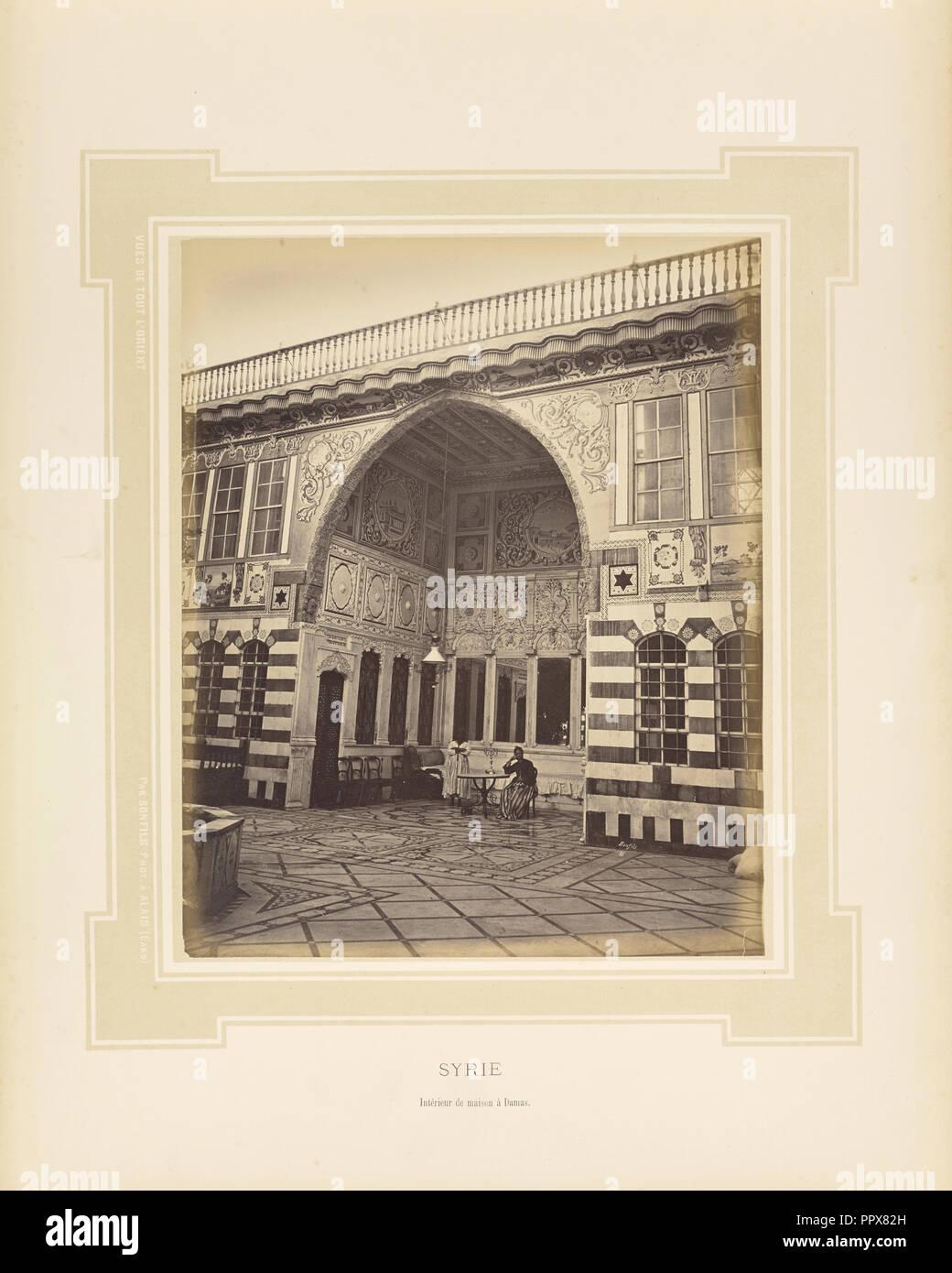 80, Syrien, Intérieur de maison à Damas; Félix Bonfils, Französisch ...