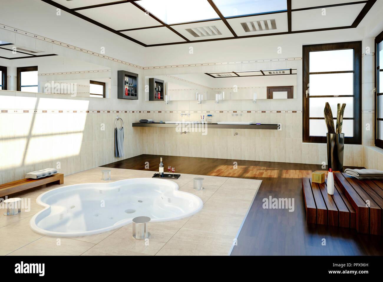 12D-Render von schönen Badezimmer mit Jacuzzi Stockfotografie - Alamy