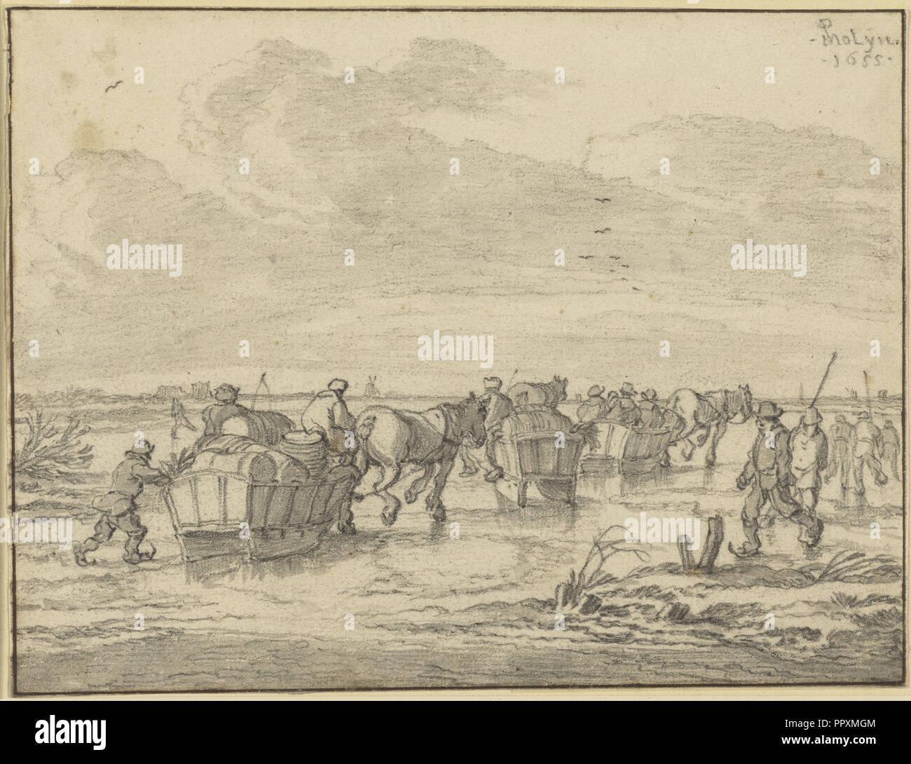 Eine Szene auf dem Eis mit Skatern und Wagen; Pieter Molijn, Niederländisch, 1595-1661, 1655; Schwarze Kreide mit grauen waschen; 14,9 x 19,4 cm Stockbild