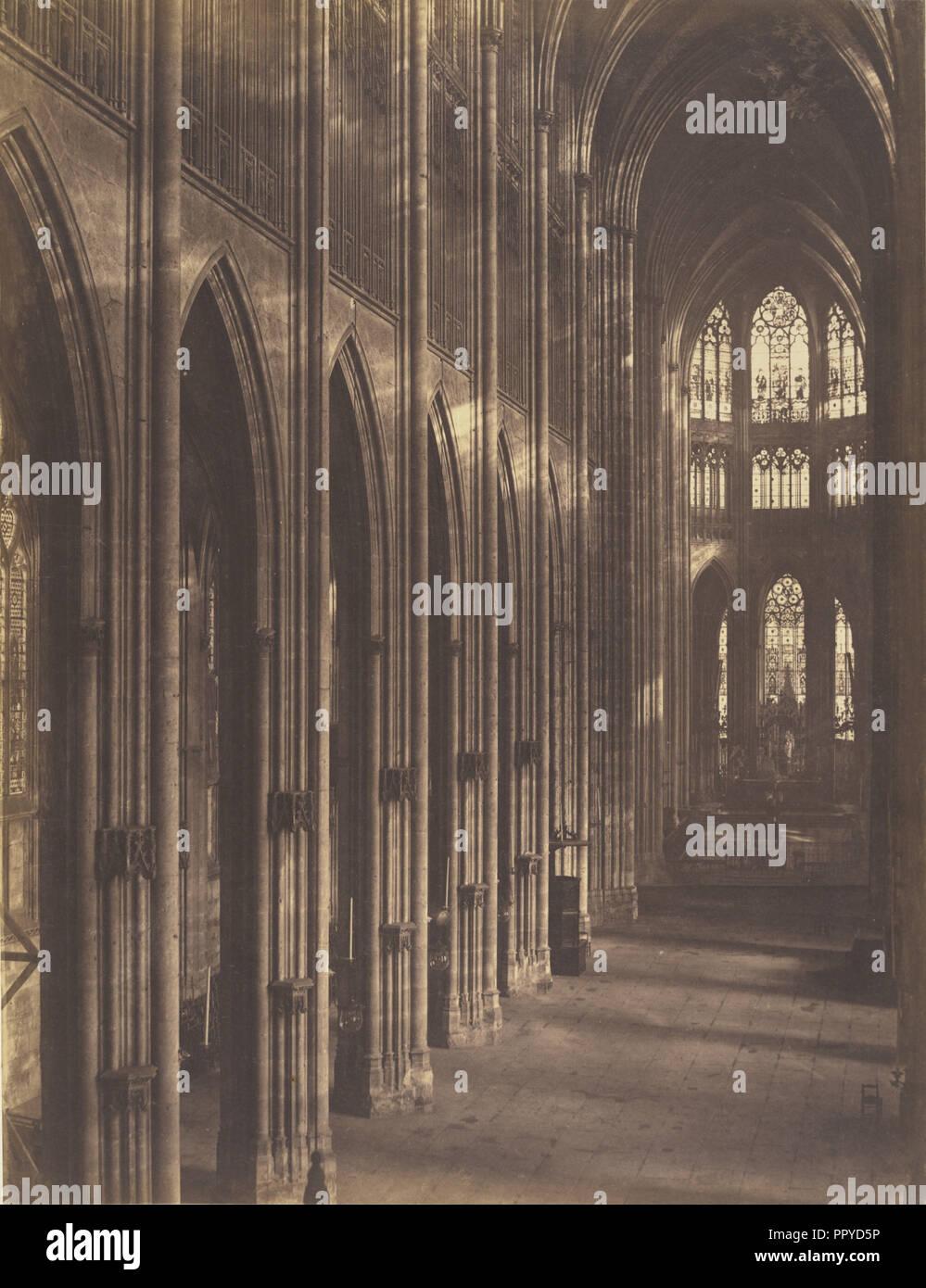 Rouen, Intérieur de l'église Saint-Ouen; Bisson Frères, Französisch, aktiv 1840 - 1864, Rouen, Frankreich; 1857; gesalzen Papier drucken Stockbild
