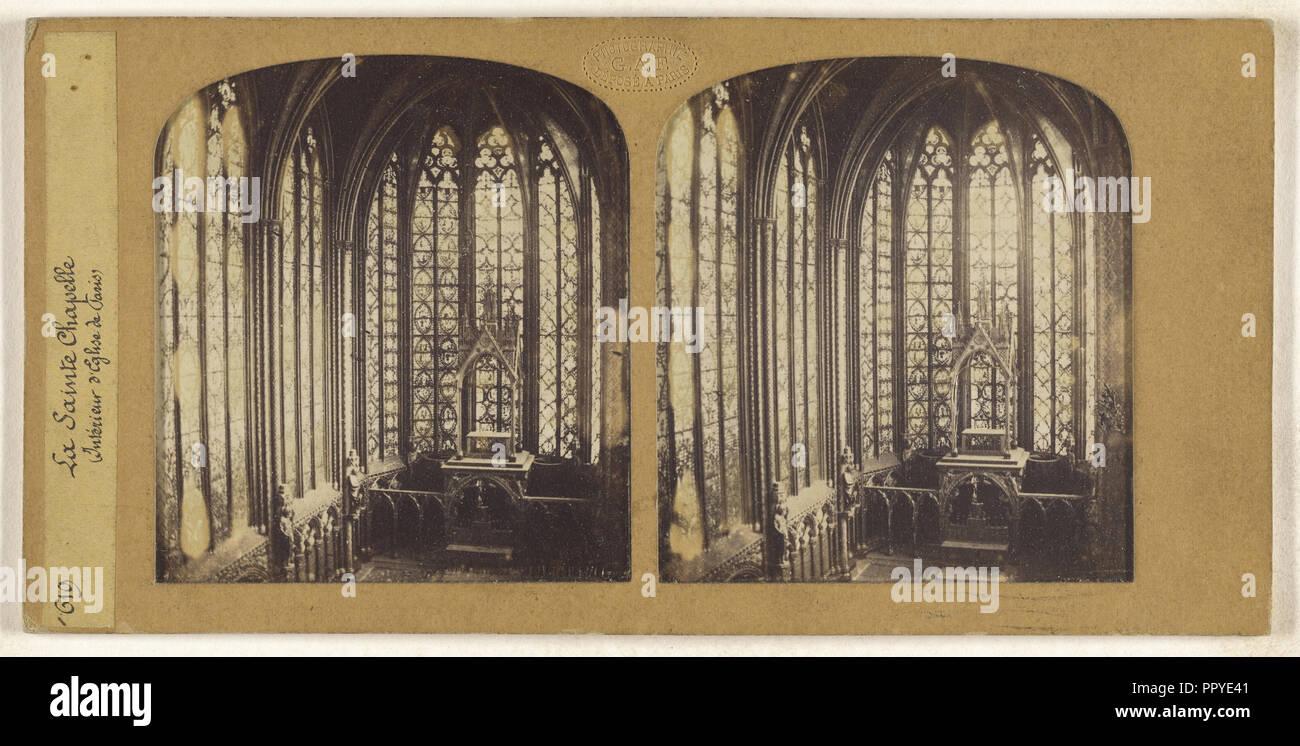 La Sainte Chapelle, Interieur d'Eglise de Paris, F. Grau, G.A.F., Französisch, Aktiv, 1850-1860, 1855-1865; Hand - farbige Stockbild