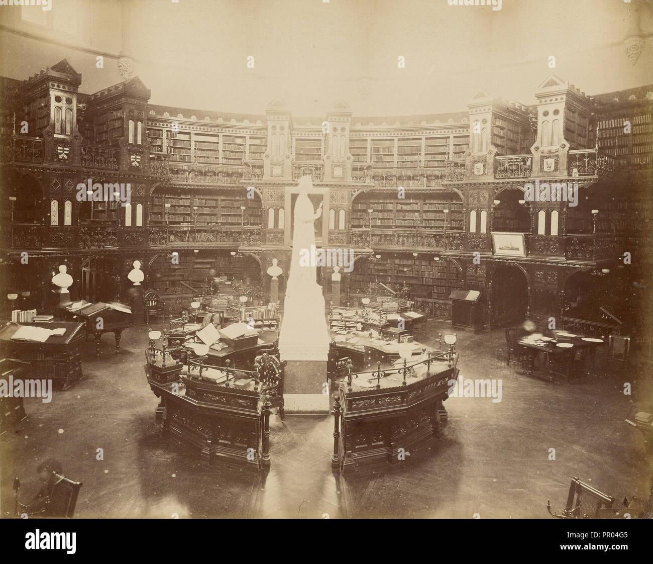 Ottawa, Interieur de La Bibliotheque au Palais du Parlement; Ottawa, Kanada; 1860-1880; Eiklar silber Drucken Stockbild