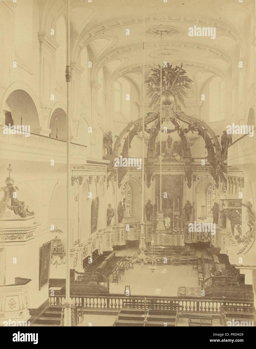 Quebec, Interieur de la Cathedrale; 1860s - 1880s; Eiklar silber Drucken Stockbild