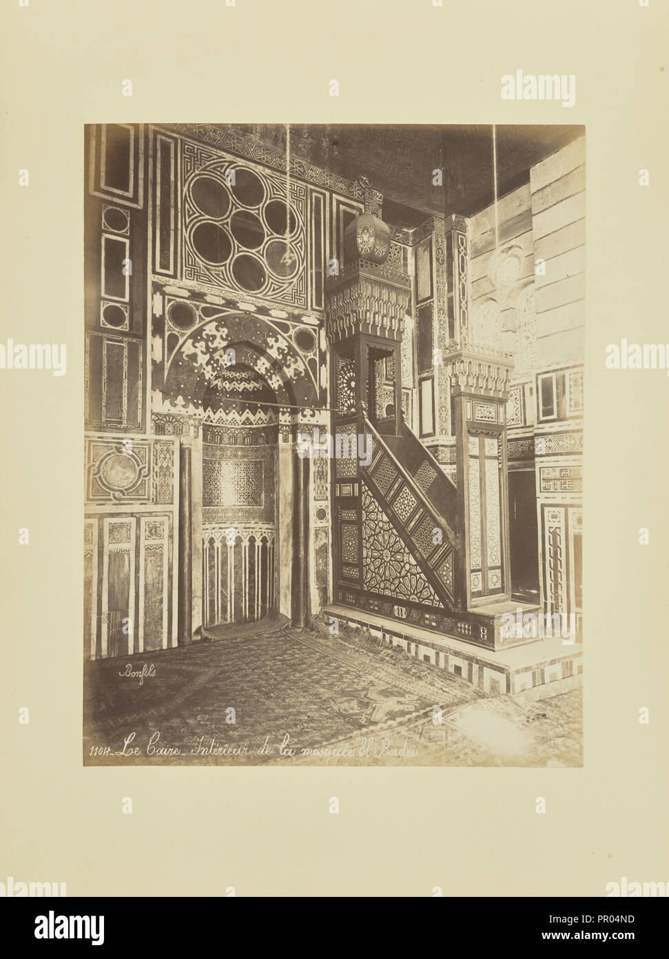 Le Caire - Intérieur de la mosquée El-Bordei; Félix Bonfils, Französisch, 1831-1885, 1870; Eiklar silber Drucken Stockbild