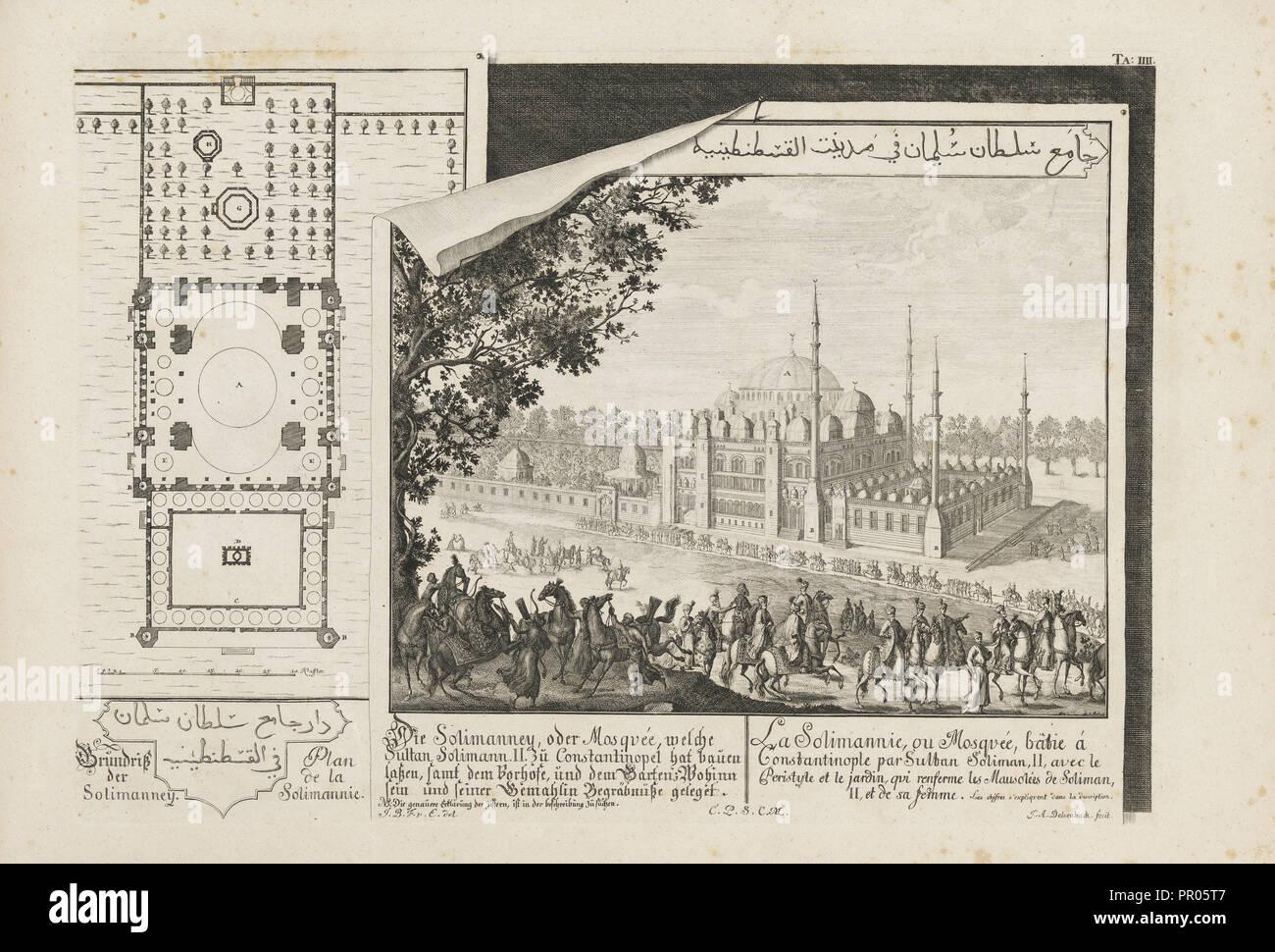 Solimanney sterben, oder Mosquée, welche Sultan Solimann II zu Constantinopel hat bauen lassen, Entwurff einer historischen Stockbild