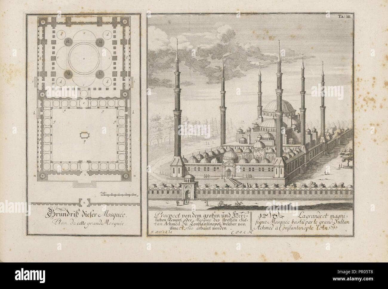 Aussicht von dem grossen und herrlichen Tempel oder Mosquee des Grossen Sultan Achmed zu Constantinpol Stockbild