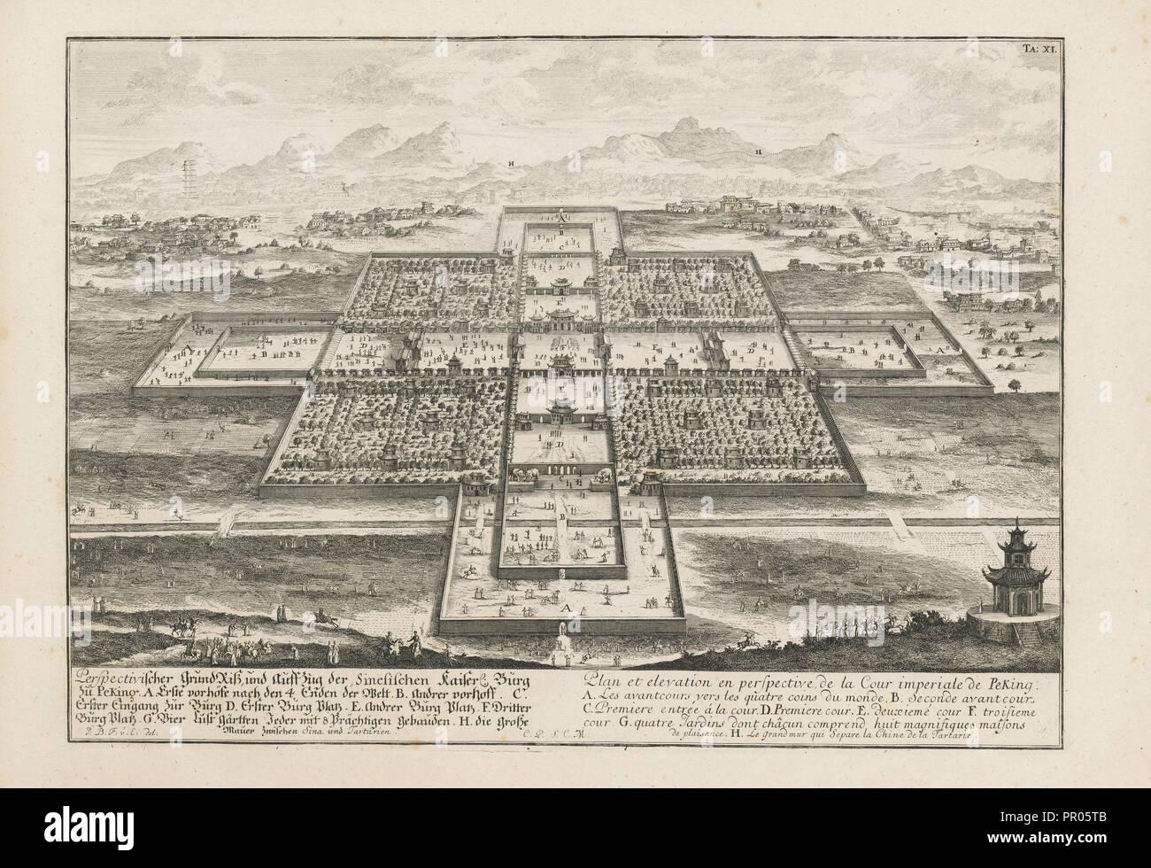 Grundriss und der Perspectivischer Auffzug Sinesichen Kaiser, Flechten, Burg zu Peking Stockbild