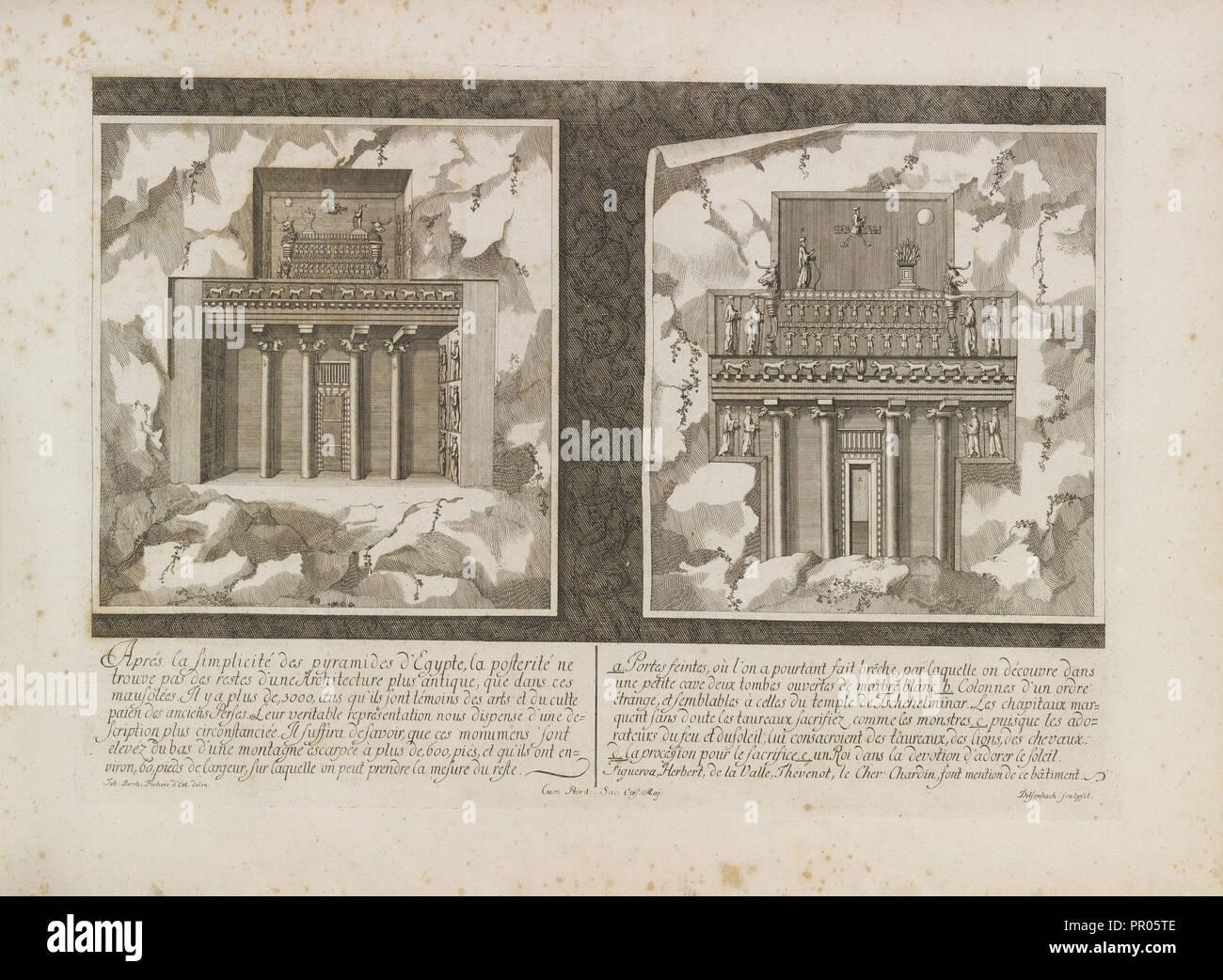 Les Saadiens de Persepolis, Entwurff einer historischen Architectur Stockbild