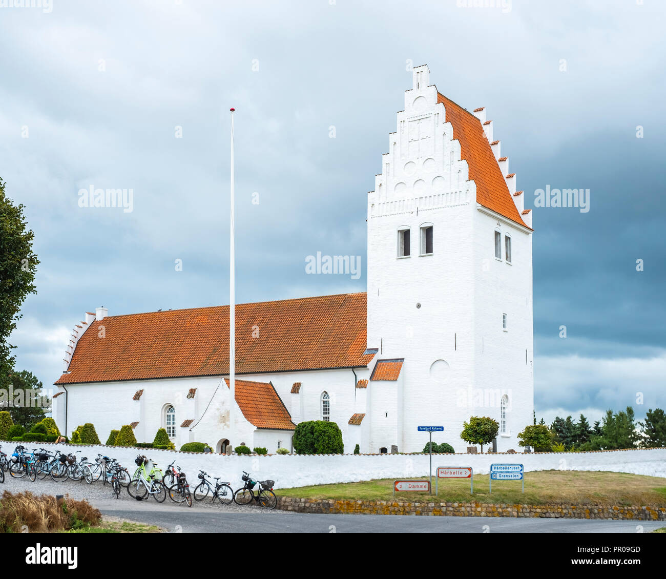 Außenansicht von fanefjord Kirche, Moen Island, Dänemark, Skandinavien, Europa. Stockbild