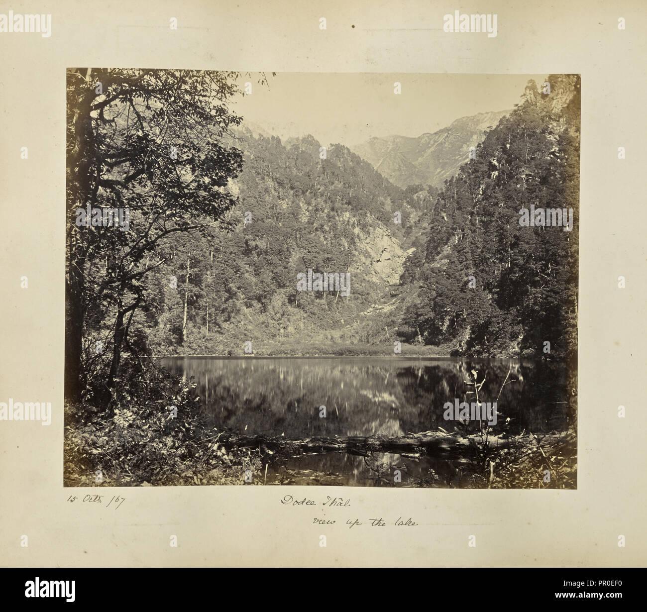 Anzeigen von Dodi Tal; Samuel Bourne, Englisch, 1834-1912, Uttarakhand, Indien, Asien; Oktober 15, 1867; Eiklar silber Drucken Stockbild