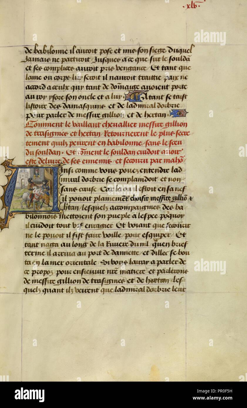 Erste A: Gillion und sein Begleiter Hertan heimlich wieder in Kairo; Lieven Van Lathem, Flämisch, etwa 1430 - 1493, David Stockbild