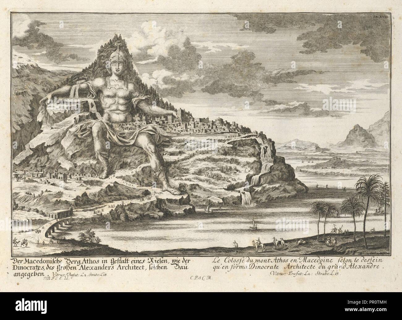 Berg Athos als kolossale Statue, Entwurff einer historischen Architectur: in Abbildung unterschiedener berühmten Töpfermarkt Stockbild