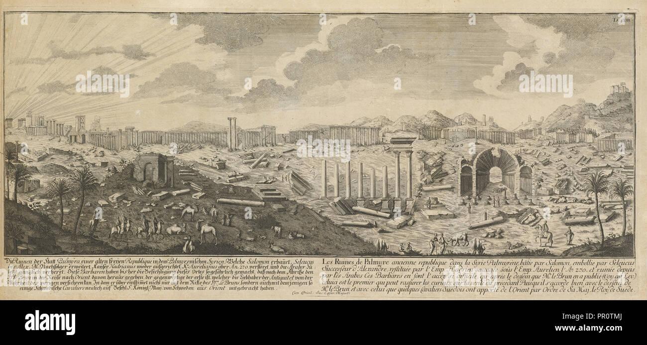 Antike Stadt in Syrien, die Ruinen der antiken Stadt Palmyra, Syrien, Entwurff einer historischen Architectur: Siehe Abb. Stockbild