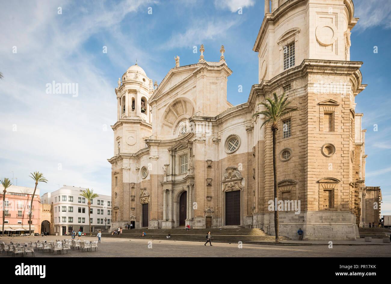 Fassade der Kathedrale, Cadiz, Andalusien, Spanien, Europa Stockbild