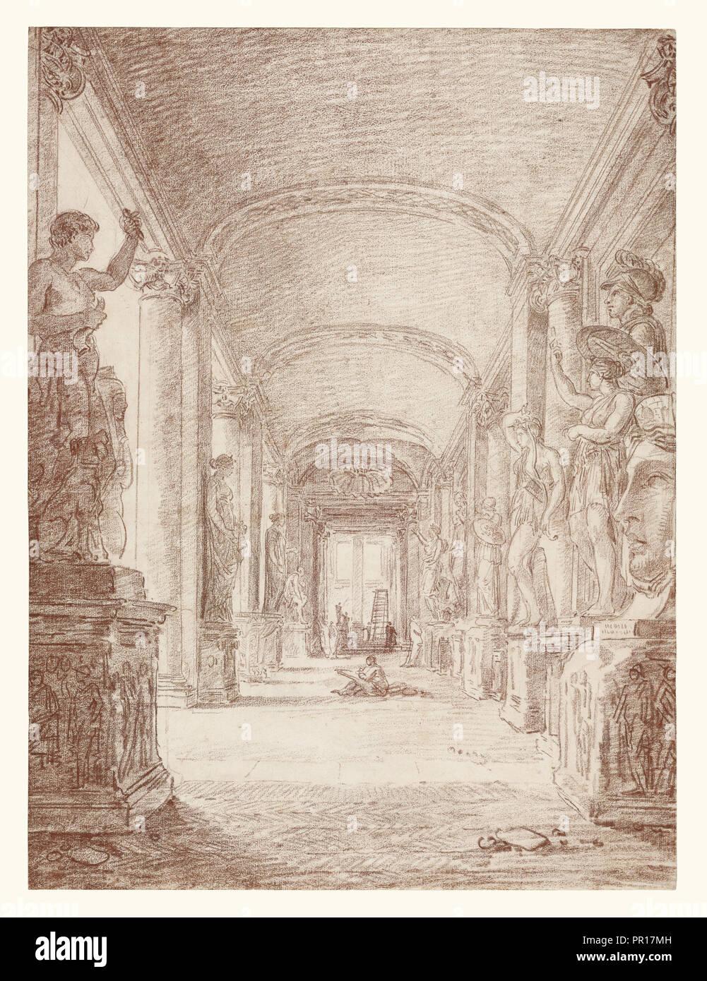 Ein Zeichner in der Kapitolinischen Galerie; Hubert Robert, Französisch, 1733 - 1808, Italien; über 1765; Rote Kreide; 45,7 x 33,7 cm Stockbild