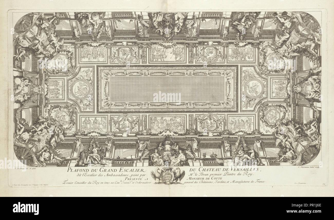 Deckenleucht du Grand Escalier du Chateau de Versailles, dit ...