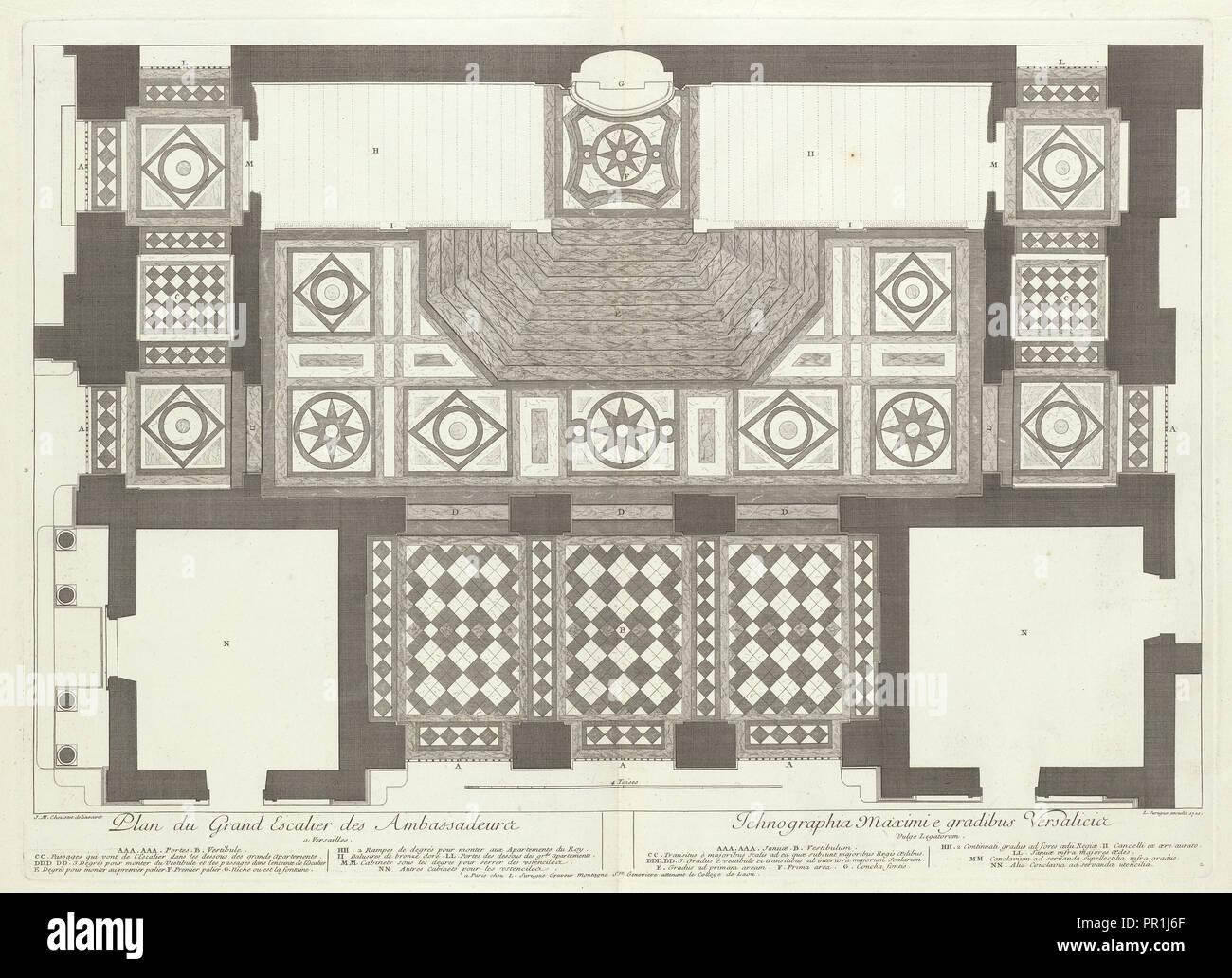 Plan du Grand Escalier des ambassadeurs ein Versailles ...
