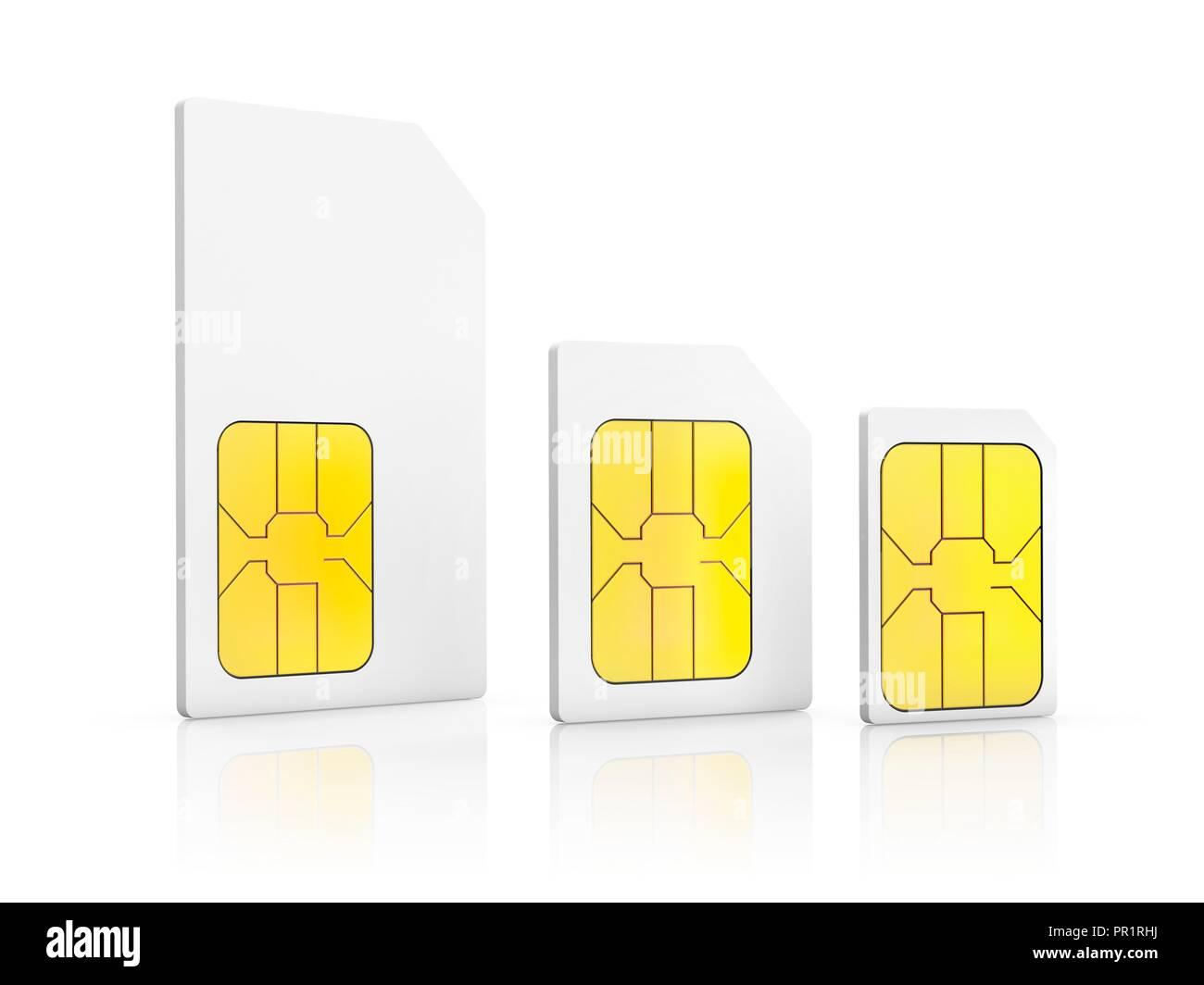 Nano Sim Karte Bilder.Drei Sim Karte Größen Abbildung Ein Mini Sim Karte Eine Micro Sim