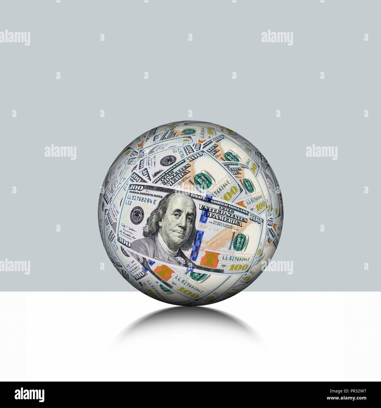 Globale Währung, Kugel Meders von US usd Währung Stockbild