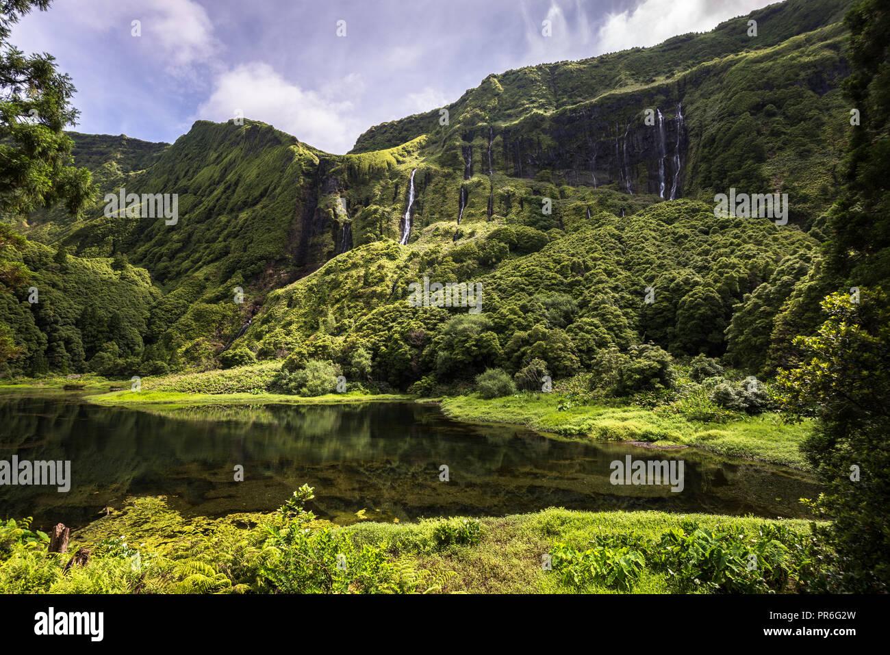 Poco da Ribeira do Ferreiro, Flores, Azoren, Portugal. Stockbild