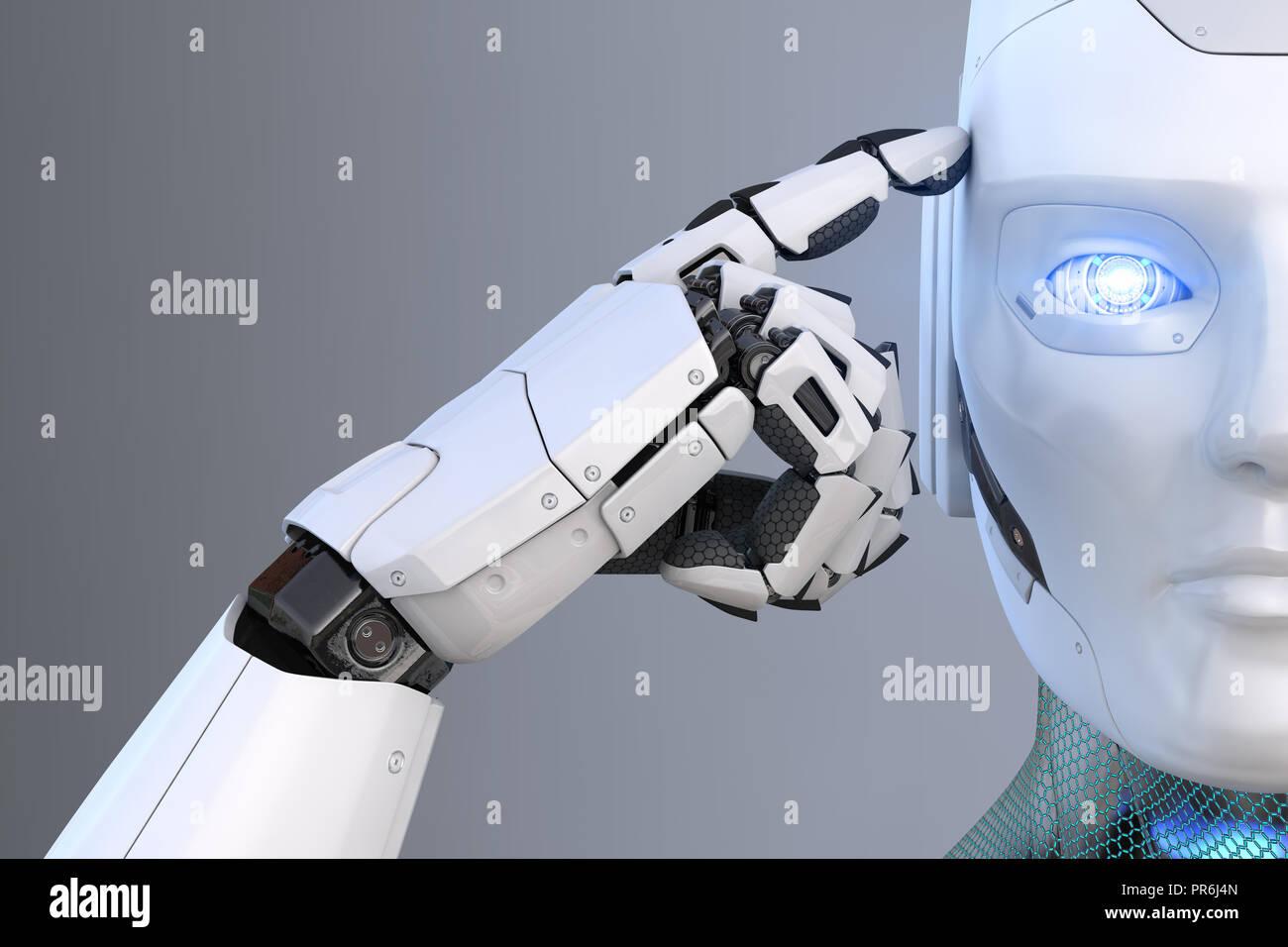 Roboter hält einen Finger in der Nähe des Kopfes. 3D illustration Stockbild