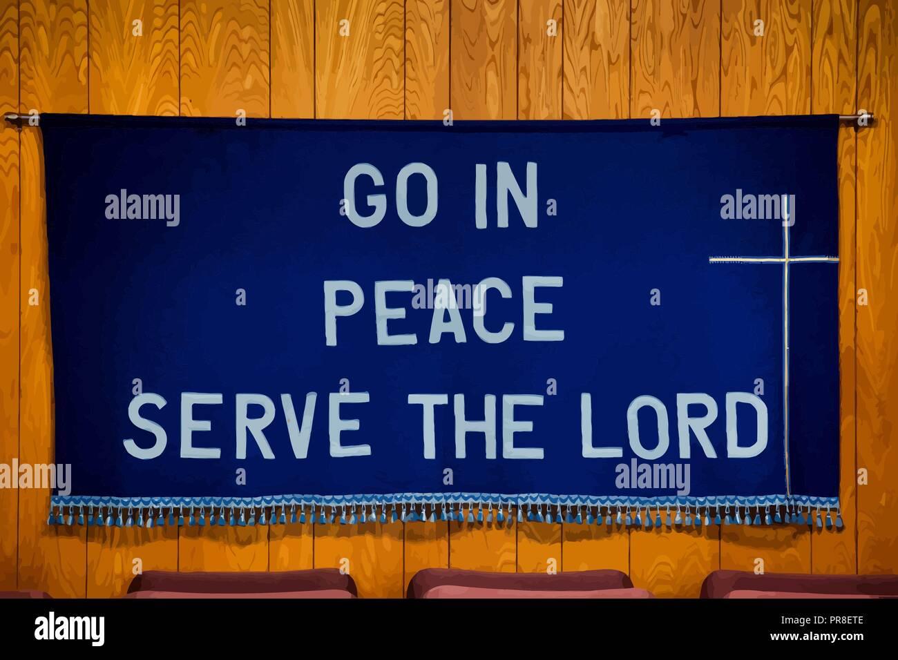 """""""Gehe hin in Frieden dienen dem Herrn' auf dunkelblauem Tuch mit einem weißen Kreuz auf der rechten Seite, Quasten alle entlang der Unterseite des Stoffes. Stockbild"""