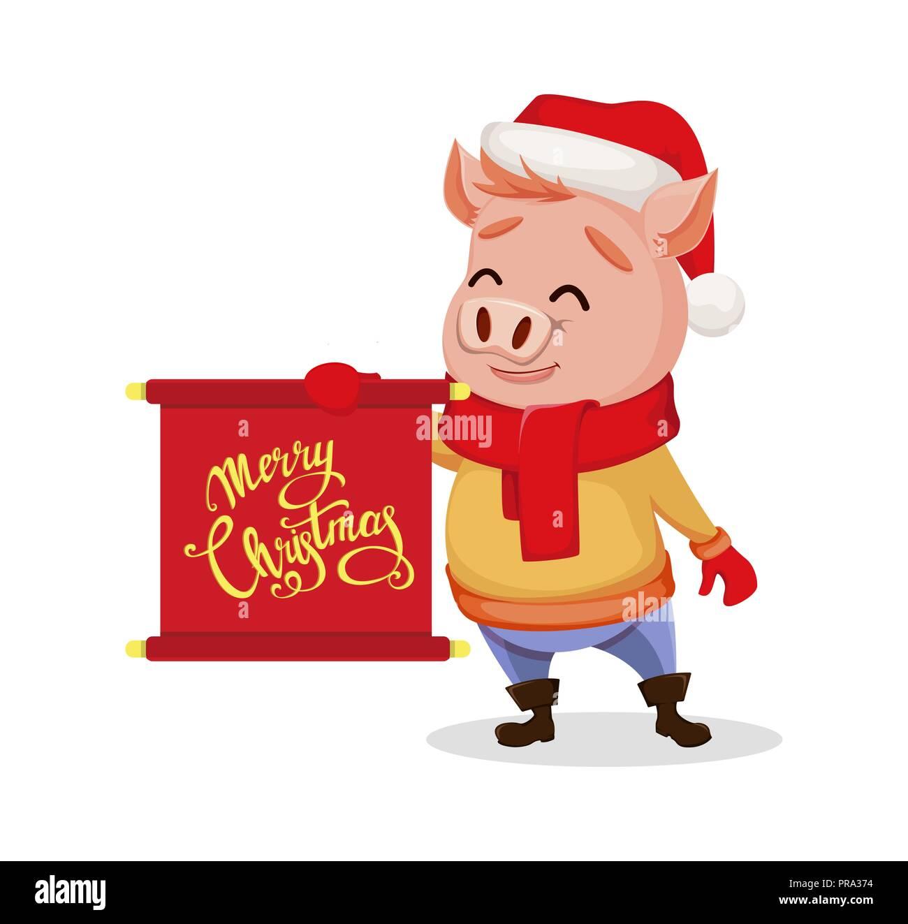 Bild Frohe Weihnachten Lustig.Frohe Weihnachten Nettes Schwein Tragen Weihnachtsmann Mütze Und