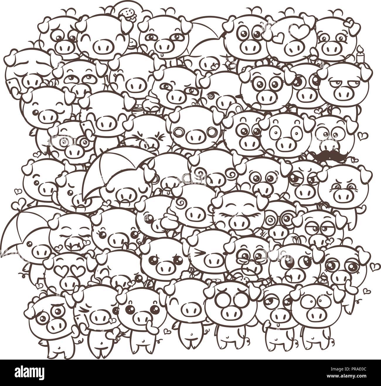 Hintergrund mit niedlichen Baby Ferkel. Pastellfarben cartoon Bild kawaii Schweine. Vektor freihändig zeichnen doodle Comic emoji Kunst Illustration für Malvorlagen ein Stock Vektor