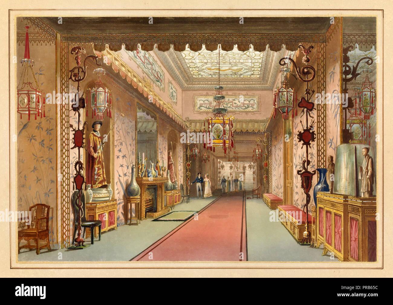 John Nash, Chinesisch Galerie, wie es war, Platte XV in Illustrationen von Her Majesty's Palace in Brighton, 1820 Radierung und Aquatinta, Pinsel und Wasserfarben, Stockbild