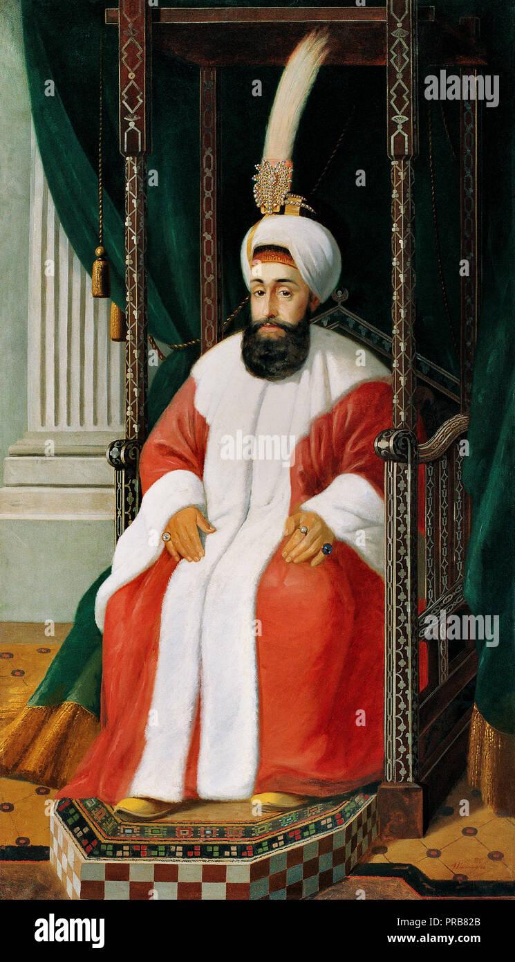 Joseph Warnia-Zarzecki, Selim III, 28 Sultan des Osmanischen Reiches und 107 Kalif des Islam, aus dem späten 19. Jahrhundert - 20. Jahrhundert Öl auf Leinwand, Stockbild
