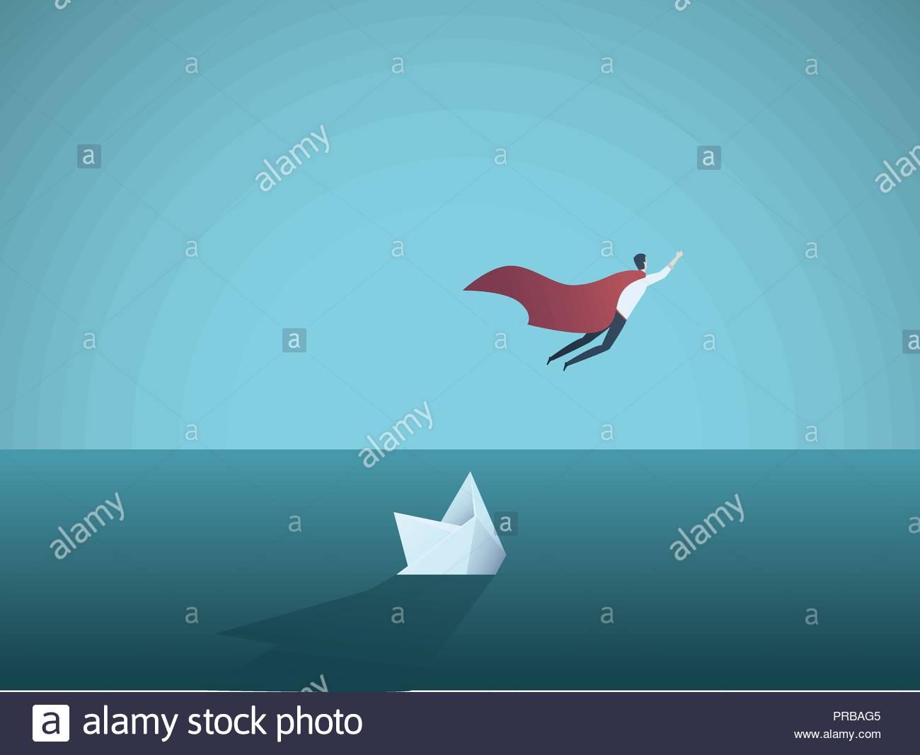 Business Superhero Fliegen Weg Von Einem Sinkenden Schiff Symbol